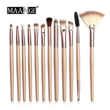 12 Pcs Simple Black Gold Makeup Brush Set High Gloss Eye Smudge Details Outline Eyebrow Brushes Pinceaux Maquillage Yeux #20%(China)