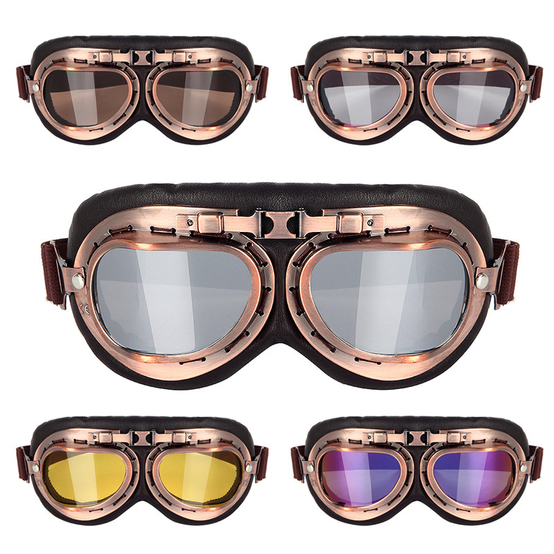 Triclicks Helmet Steampunk Copper Glasses Motorcycle Flying Goggles Vintage Pilot Biker Eyewear Goggles Protective Gear GlassesTriclicks Helmet Steampunk Copper Glasses Motorcycle Flying Goggles Vintage Pilot Biker Eyewear Goggles Protective Gear Glasses