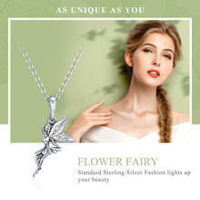 Flower Fairy Sterling Silver Long Pendant Necklace Jewelry