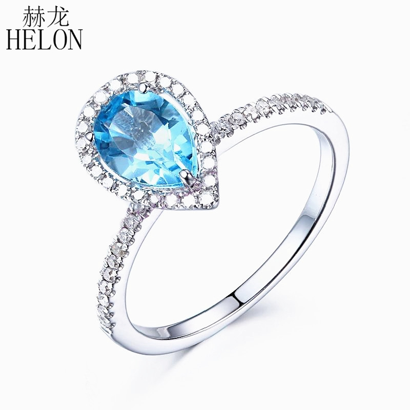 HELON solide 10 K or blanc poire coupe 1CT bleu bague topaze fiançailles mariage diamant naturel bague pour femmes classique bijoux fins