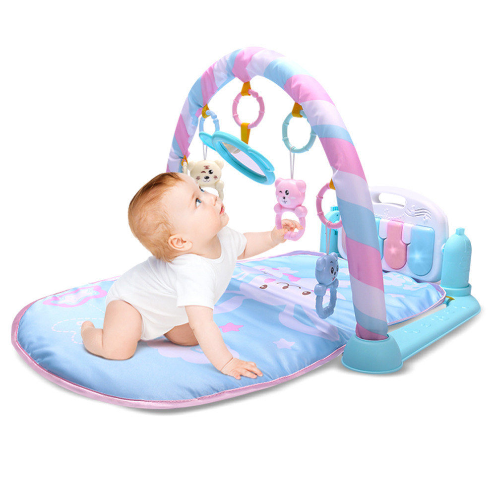 Baby Activity Playing Mat Fitness Bodybuilding Pedal Piano Music Play Mat Blanket Kick Play Lay Sit Toy with Mirror for Newborn