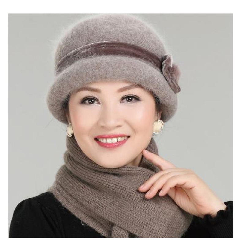 New Fashion Women Winter Hat Sets Floral Skullies Wool Mixed Rabbit Fur Warm  Knitted Beanies Baggy Headwear Cap princess hat skullies new winter warm hat wool leather hat rabbit hair hat fashion cap fpc018
