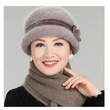 New Fashion Women Winter Hat Sets Floral Skullies Wool Mixed Rabbit Fur Warm Knitted Beanies Baggy Headwear Cap