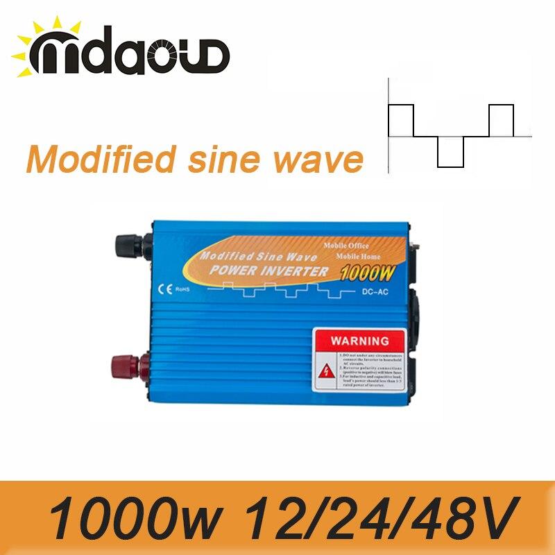 цена на 2000W Peak Modified Sine Wave Inverter 1000W 12/24/48VDC To 110/120/220/230/240VAC Solar Power Inverter
