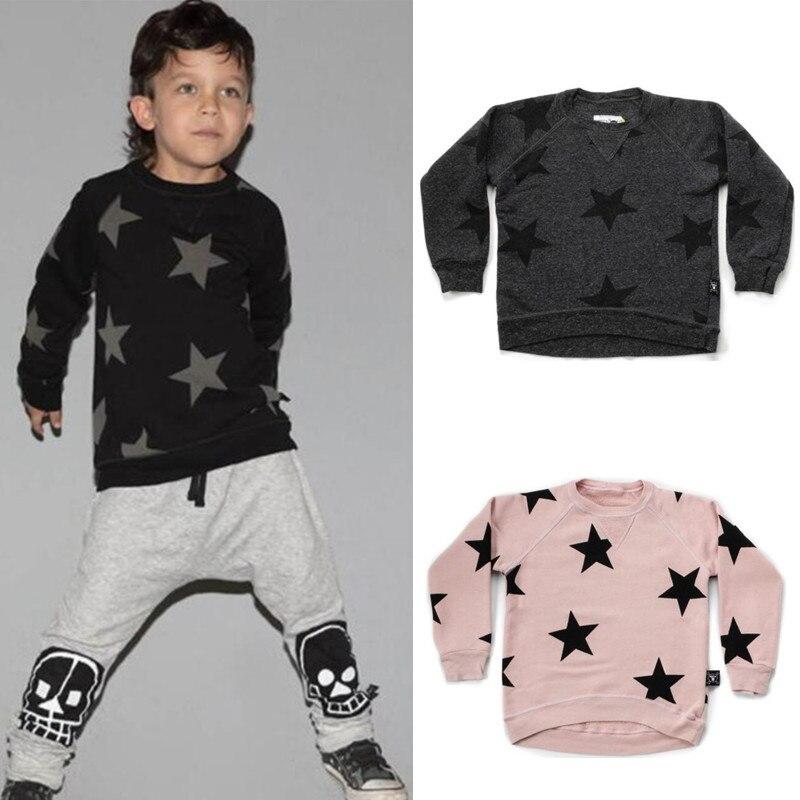 Nununu Star Pattern Tops 2018 Autumn New Boys Fashion Tops Baby Clothes T Shirts Boys Sweatshirts Tees 1-9Years женская футболка other t tshirt 2015 blusas femininas women tops 1