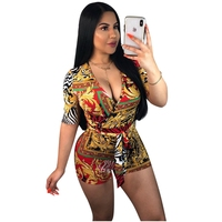 2019 Summer Style Short Sleeve Bodycon Bodysuit For Women With Sashes Floral Print Bandage Jumpsuits For Women Sexy Playsuits