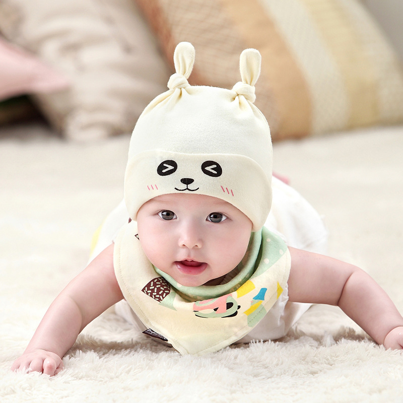 Autumn and winter new children's cotton hat Triangle scarf fashion set Cartoon pattern baby cap Knit hat hiphop(China)