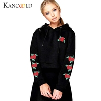 New Arrival 2017 Fashion Women Embroidery Applique Hoodie Sweatshirt Crop Top Coat Sports Pullover Tops