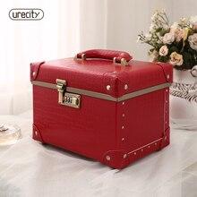 Urecity Cosmetic Case Crocodile skin red fashion handmade handbag woman high quality brand free shipping