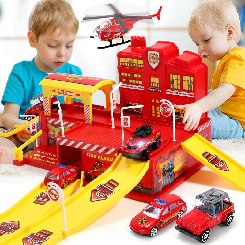 Children's Parking Lot Toy Car Assembling Boy Track Puzzle Large Parking Lot Toy Police Engineering Fire Truck Gift Toy 32orders