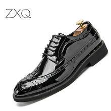 British Style Men Oxfords Shoes Carved Bullock Patent Leather Shoe Black Male Brogue Shoes Lace-Up Gold Men's Flats