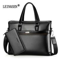 LEINASEN Brand Fashion Casual Quality Leather Men S 2 Set Bag Shoulder Bag Messenger Bags Business