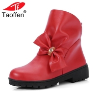 TAOFFEN Size 33 43 Woman Flats Boots Thick Fur Bowtie Winter Shoes Ankle Boots S Woman Fashion Short Boots Ladies Footwear