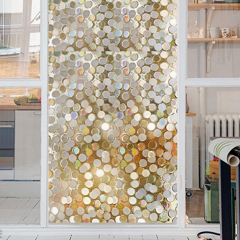 1PCS 3D Flash Light Piece Glass Film Window Sticker 45 * 100cm Glueless Static Opaque Bathroom Bedroom 2019 Creative