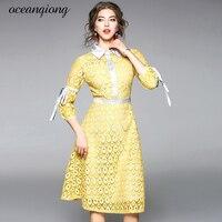 2018 Primavera Das Mulheres Vestido de Renda Moda Elegante Oco Out Vestido Business Casual Magro Vestidos de Festa Sexy Gola Virada Para Baixo de Trabalho
