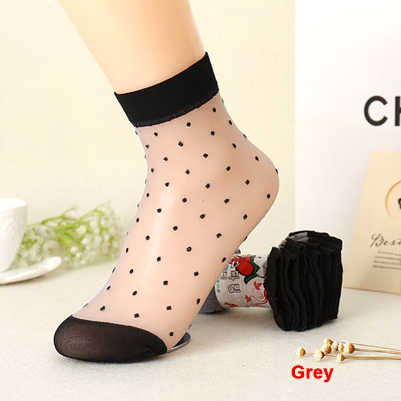 2016 Autumn Women Socks Crystal Silk Transparent Thin Socks Female Dot Candy Color Socks New Women's Clothing Wholesale 10 Pairs (4)