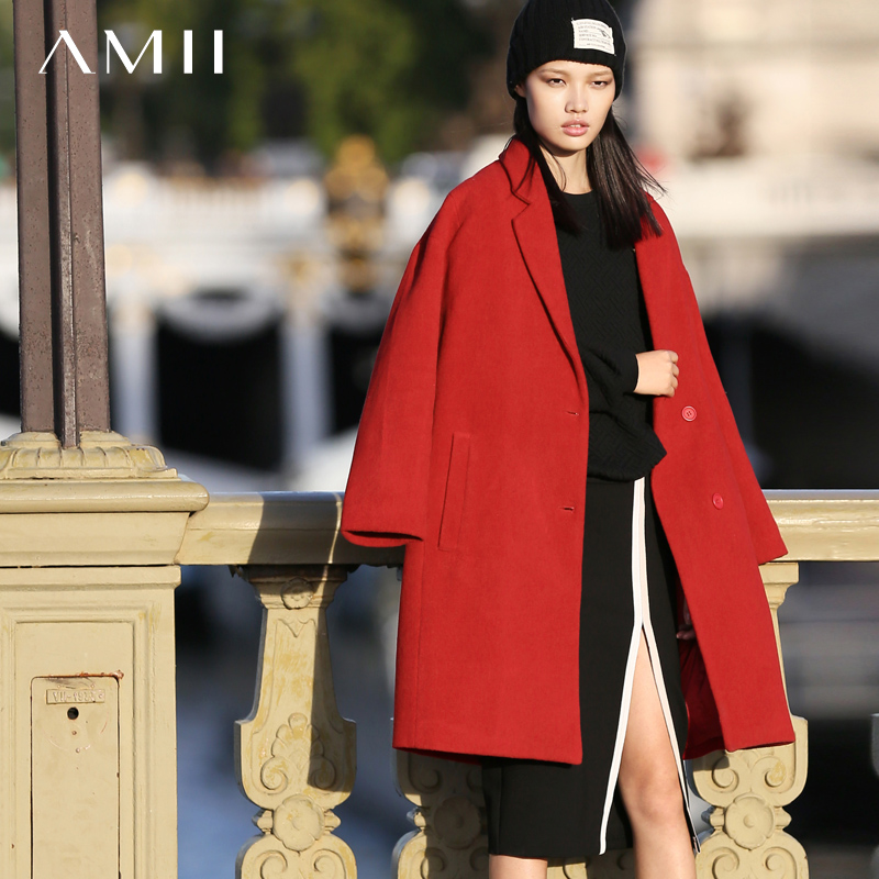Amii Minimalist Casual Women Woolen Coat 2018 Winter Single Breasted Turn-down Collar Drop-shoulder Female Wool Blends