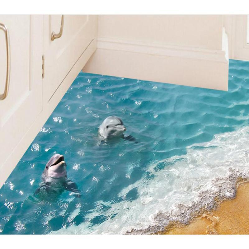 60*90cm Cute 3D Dolphin Floor Stickers Waterproof Bathroom Starfish wall stickers floor sticker tiles For Kids Room Wallpaper 3