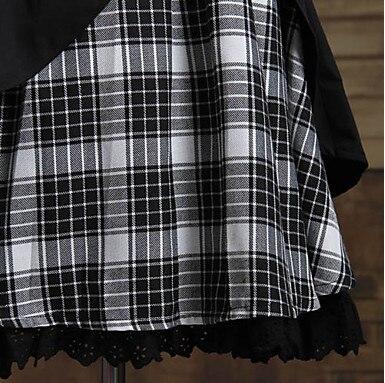One-Piece/Dress Sweet Lolita Lolita Cosplay Lolita Dress Blanc/Noir Plaid/Vérifier Manches Courtes Longueur Dress Pour Femmes Cotto - 6
