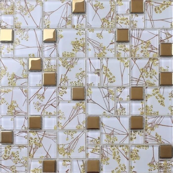 mosaique en verre transparent carreaux dores melanges cuisine chambre a coucher salon mur et sol salle de bain douche mosaique