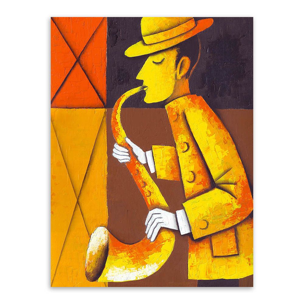 Watercolor Modern Vintage Retro Musician Canvas A4 Art Poster Print ...