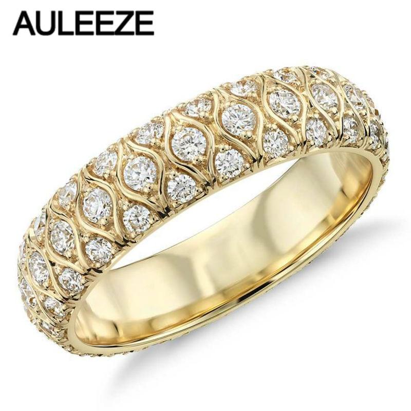 Für immer Elegante Marquise Design Hochzeit Band Radiance Moissanites Lab Grown Diamant Ringe Für Frauen Engagement 14 K Gelb Ring