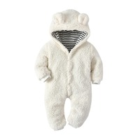 2018 Newborn Kids Baby Boy Baby Girl Warm Infant Zipper Cotton Long Sleeve Romper Jumpsuit Hooded Clothes Sweater Outfit 0 12M