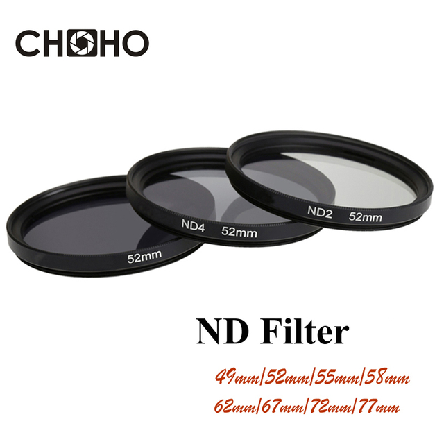 Bộ Lọc ND ND2 ND4 ND8 Mật Độ Trung Tính Filtors 49 MM 52 MM 55 MM 58 MM 62 MM 67 MM 72 MM 77 MM Chụp Ảnh cho Máy Ảnh Canon Nikon Sony Camera