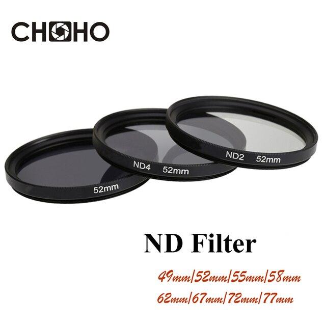 Filtro ND ND2 ND4 ND8 de densidad Neutral Filtors 49 MM 52 MM 55 MM 58 MM 62 MM 67 MM 72 MM 77 MM para cámara Canon Nikon Sony