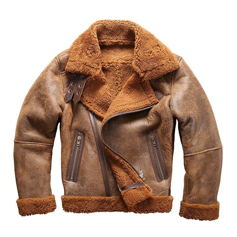 Européenne taille haute qualité super chaud véritable cuir de mouton veste hommes grande taille B3 shearling bomber militaire fourrure veste 8006