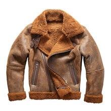 Европейский размер высокое качество супер теплая Натуральная Овечья кожаная куртка Мужская Большие размеры B3 Дубленки бомбардировщик военный Меховая куртка 8006