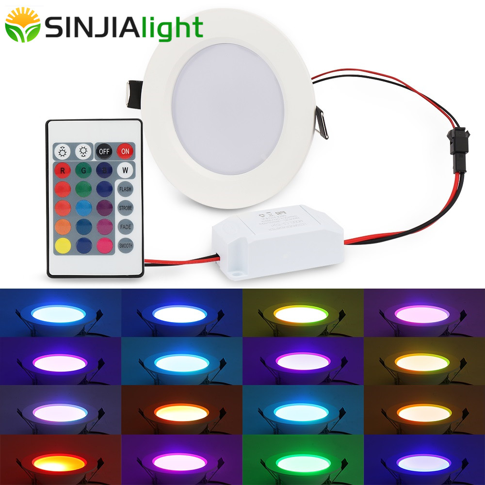 Lights & Lighting 5w/10w Rgb Led Panel Light Round Ceiling Lamp+remote Controller For Indoor Lighting Decoration Party Stage Pendant Led Lights Price Remains Stable Led Lighting