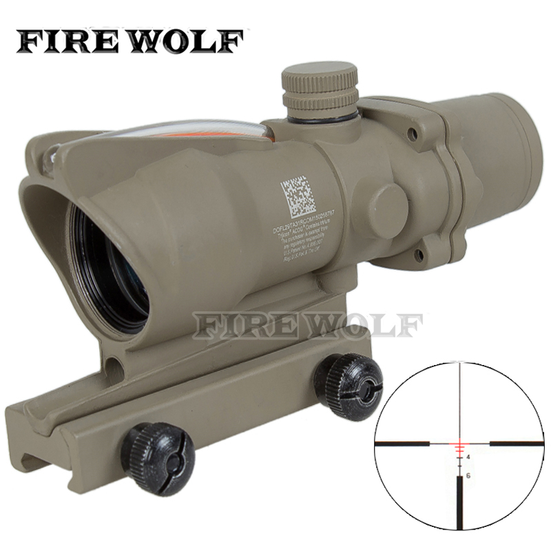 2017 Tan Tactical 4X32  Scope Sight Real Fiber Optics Red Illuminated  Tactical Riflescope with 20mm Dovetail for Hunting