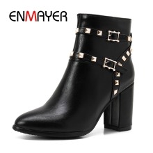 ENMAYER New Arrival women pointed toe square heel zip ankle boots lady mental decoration high heel boots Big size 34-43 ZYL604 стоимость