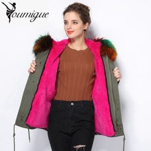 YOUMIGUE Top 2017 Winter New Women Army Green Parka Coats Thick Real Raccoon Fur Collar Hooded Fur Lining jacket chaquetas mujer