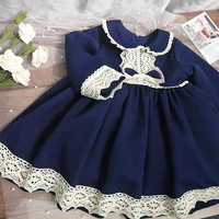 New Autumn little girl princess dresses vintage blue Lace long sleeve bow dress for girl evening party birthday costumes