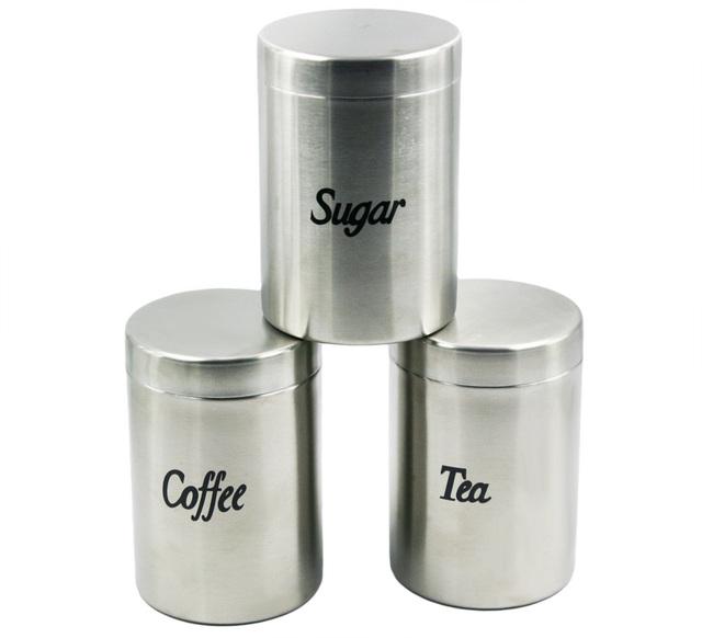 High Quality Stainless Steel Canister Coffee Tea Sugar Container Set Free Shipping