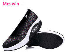 EU35-41 Summer Style Women sneakers Shoes Swing Wedges Breathable running shoes Mesh Sport Walking Shoes Platform