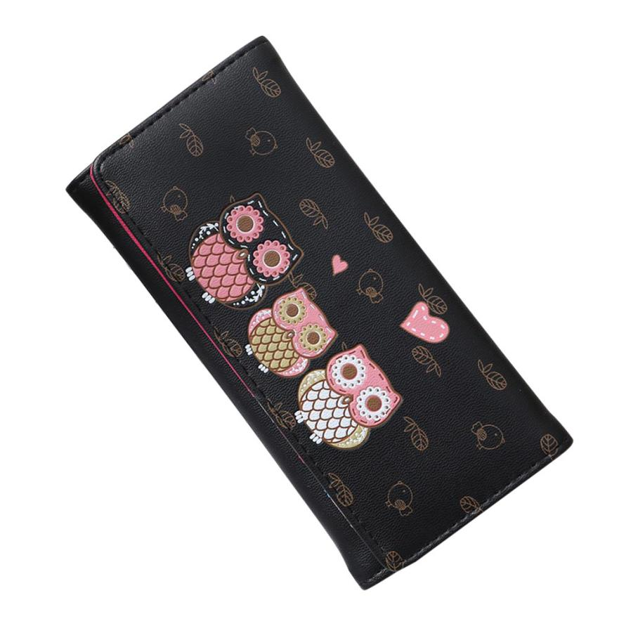 Women Simple Retro Owl Printing Long Wallet Coin Purse Card Holders Handbag wallet female Aug 9 6