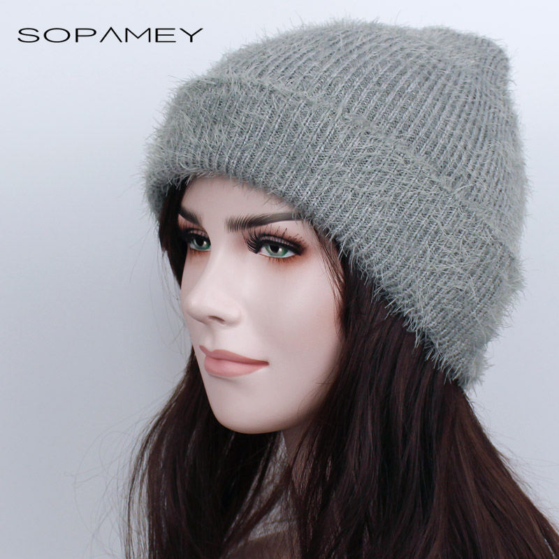 Winter Women Skullies Wool Knitted Hat Beanies Cap Casual Solid Color Headgear Thicker Warm Rabbit hair Hats for Women Girl 2017 knitted skullies cap the new winter all match thickened wool hat knitted cap children cap mz081
