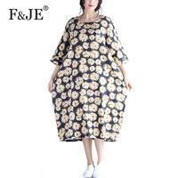 F JE 2017 Summer New Fashion Arts Style 3 4 Sleeve Loose Casual Women Long Dress