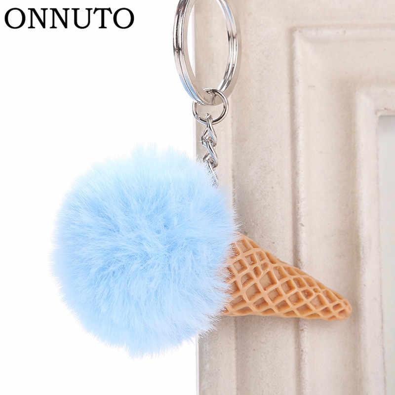 Fur Ball Ice Cream Cone Keychain Furry Acrylic Key Chain Ring Keyring  Pompon Backpack Women Shoulder 720625c850