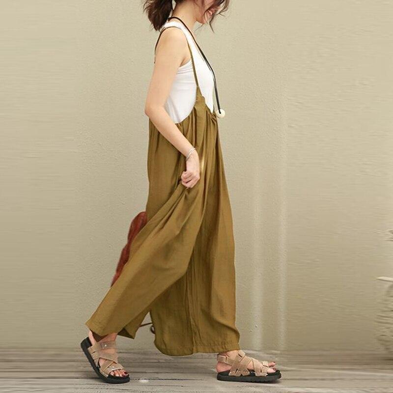 2018 Hot Sale Women Wide Leg Jumpsuits Solid Vocation Casual Cotton Linen Long Trousers Stylish Ladies Rompers Plus Size S-5XL 2