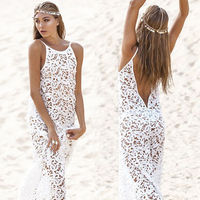 Women Summer Maxi Dress 2015 Victoria Female Bohemian Long White Dress For Party Beach Lace Gown