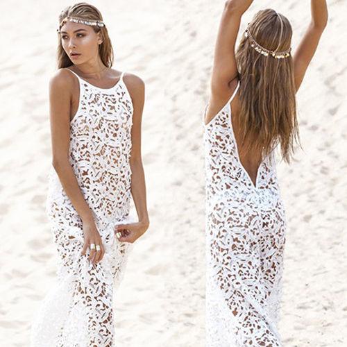Mulheres verão maxi dress 2017 do sexo feminino backless bohemian hippie longo white beach dress oco out lace vestido rend worldshine frock