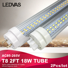 LEDVAS T8 2ft led Tube/Light/lamp 18W 110V 220V 600mm Superior quality LED fluorescent lamp Warm White Cool White 2Pcs/lot