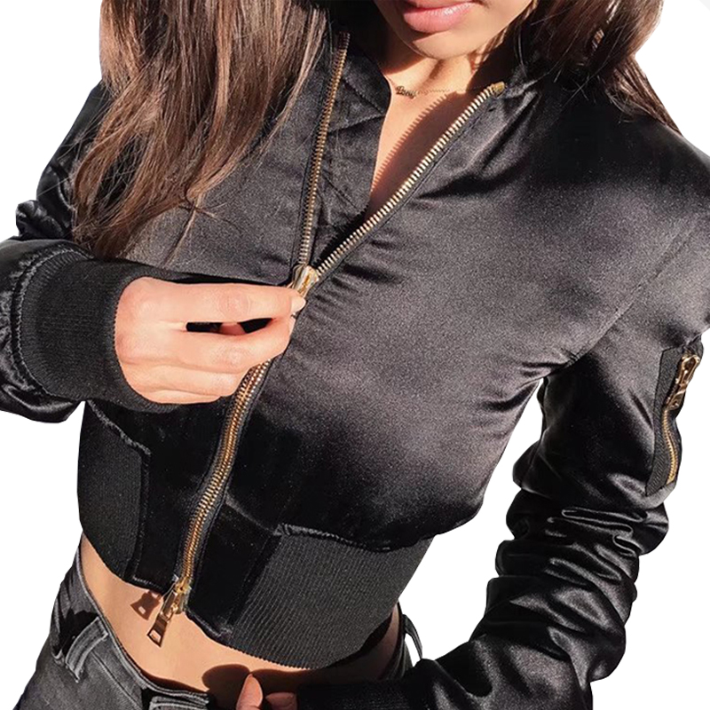 Black satin jacket ladies