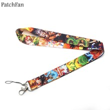 Patchfan Dragon Ball Son Goku cartoon lanyards neck straps for phones keys bead id card holders keychain webbing A0493(China)