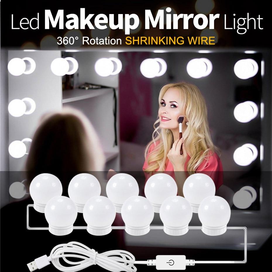 Make Up Mirror Vanity LED Light Bulbs Kit USB Charging Port Cosmetic Makeup Light  Mirrors Bulb Adjustable Brightness Lights A1