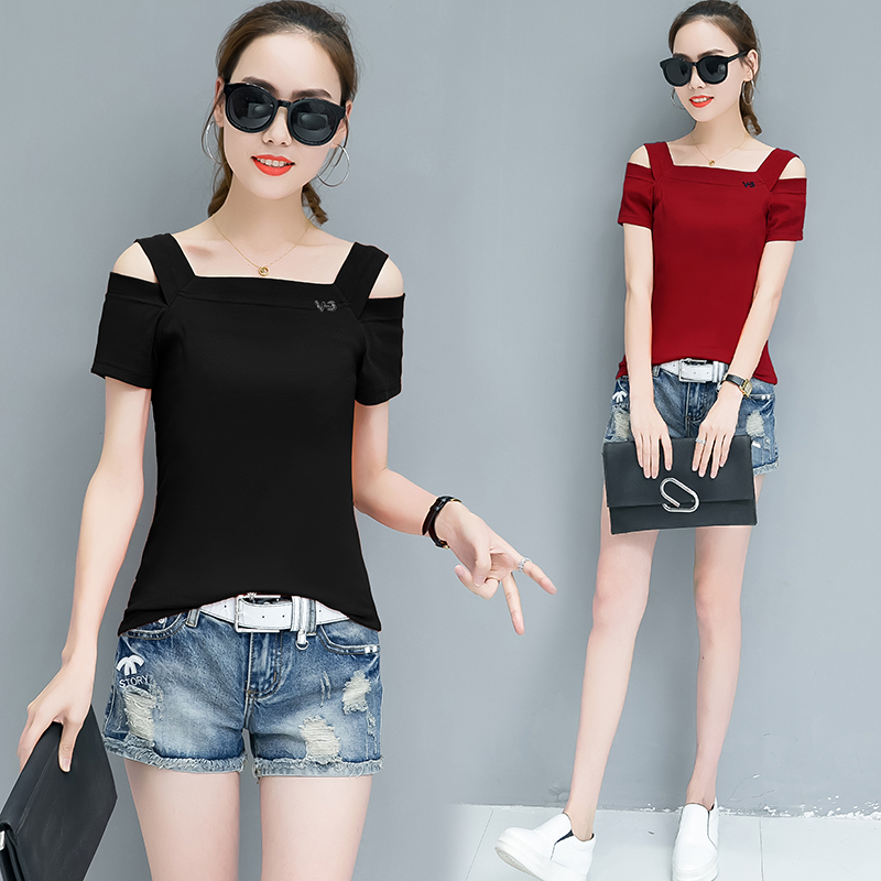 8f641de4c3 Off Shoulder Tops New Hot Sale Korean Style Women Fashion Summer Strapless  Slim Fit T Shirts Ladies Sexy Cute Casual T Shirts-in T-Shirts from Women s  ...